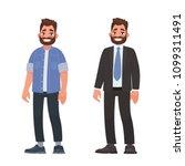handsome bearded man in casual... | Shutterstock .eps vector #1099311491