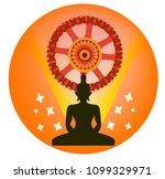buddha and dharma wheel ... | Shutterstock .eps vector #1099329971