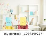 yellow and blue papers with... | Shutterstock . vector #1099349237