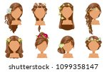 flower  hair. bride hairstyle ... | Shutterstock .eps vector #1099358147