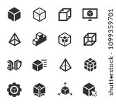 3D modeling, monochrome icons set. 3-dimensional model, simple symbols collection