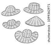 vector set of straw hat | Shutterstock .eps vector #1099362971