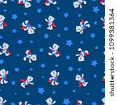 White bear cubs are super-kids and stars. Seamless pattern. Dark blue background. Design for children's textiles, gift wrapping.