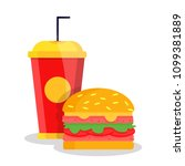 street fast food unhealthy set... | Shutterstock .eps vector #1099381889