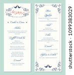 ornate wedding menu card. swirl ... | Shutterstock .eps vector #1099383029