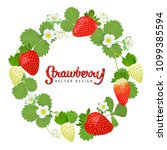 strawberries plant wreath with... | Shutterstock .eps vector #1099385594