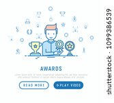 awards concept with thin line... | Shutterstock .eps vector #1099386539
