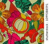 tropical summer pattern design. | Shutterstock .eps vector #1099388591