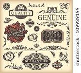 vector set of floral vintage... | Shutterstock .eps vector #109939199