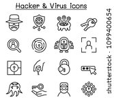 hacker icon set in thin line... | Shutterstock .eps vector #1099400654