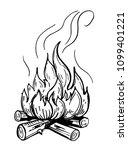 bonfire sketch. hand drawn... | Shutterstock .eps vector #1099401221