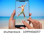 woman with mobile phone photos... | Shutterstock . vector #1099406057