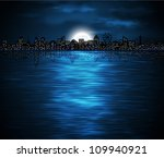 night view of city on the coast ... | Shutterstock .eps vector #109940921