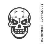 skull of the robot. metallic... | Shutterstock .eps vector #1099427771