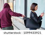 burglar stealing money wallet... | Shutterstock . vector #1099433921
