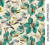 retro seamless pattern  cute... | Shutterstock .eps vector #1099436201