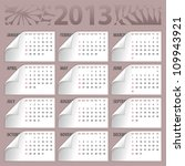 2013 calendar with curly... | Shutterstock .eps vector #109943921