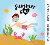 summer and sea. underwater kids ... | Shutterstock .eps vector #1099443725