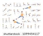 set of sport exercises.... | Shutterstock . vector #1099454117