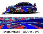 rally car vector livery.... | Shutterstock .eps vector #1099458191