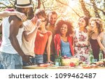 group of happy friends having... | Shutterstock . vector #1099462487