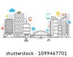 smart city in line art with... | Shutterstock .eps vector #1099467701