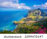 aerial view over faial city...   Shutterstock . vector #1099470197