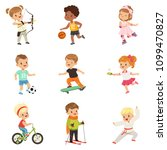 cute little children playing... | Shutterstock .eps vector #1099470827