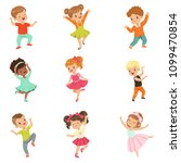 cute little kids dancing set ... | Shutterstock .eps vector #1099470854