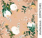 vintage vector white floral... | Shutterstock .eps vector #1099471481