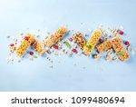 healthy breakfast and snack... | Shutterstock . vector #1099480694