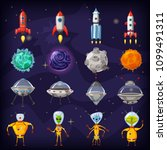space cartoon icons set....   Shutterstock .eps vector #1099491311