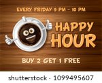 happy hour. vintage vector... | Shutterstock .eps vector #1099495607