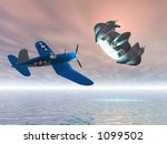 old airplane pursuing ufo | Shutterstock . vector #1099502