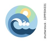 big wave and sun in round label.... | Shutterstock .eps vector #1099504331
