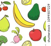 fruits and vegetables pattern ...   Shutterstock .eps vector #1099507229