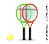 two tennis rackets with yellow... | Shutterstock .eps vector #1099508954