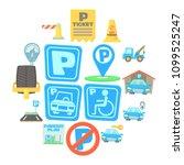 parking icons set. cartoon... | Shutterstock .eps vector #1099525247