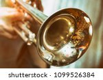 The trumpeter is playing on a...