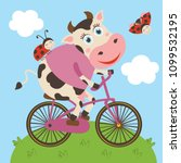 cute cow and ladybug rides... | Shutterstock .eps vector #1099532195
