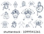 set of firefighter emblems and... | Shutterstock .eps vector #1099541261