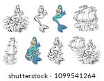 mermaid set. magic world... | Shutterstock .eps vector #1099541264