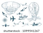 retro airship set. different... | Shutterstock .eps vector #1099541267
