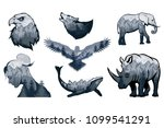 double exposure set   elephant  ... | Shutterstock .eps vector #1099541291