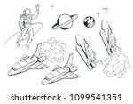 set of illustrations on a space ... | Shutterstock .eps vector #1099541351
