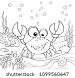 cartoon crab. underwater world. ... | Shutterstock .eps vector #1099560647