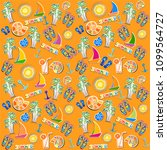 summer seamless pattern. orange ... | Shutterstock .eps vector #1099564727