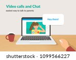video calls and chat concept... | Shutterstock .eps vector #1099566227
