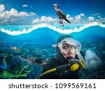 diver in diving gear gasps... | Shutterstock . vector #1099569161