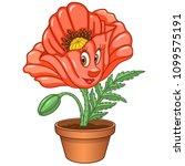 red poppy flower. house plant... | Shutterstock .eps vector #1099575191
